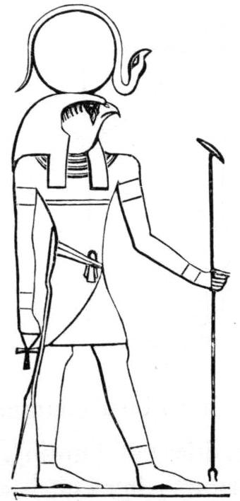 """Ägyptischer Sonnengott """"Re"""" nach einer Darstellung von E. A. Wallace, 1902"""