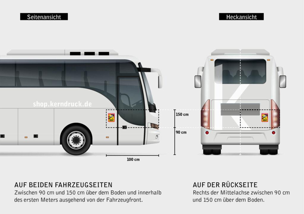 Beispiel zur Anbringung der Hinweisschilder an einem Bus.